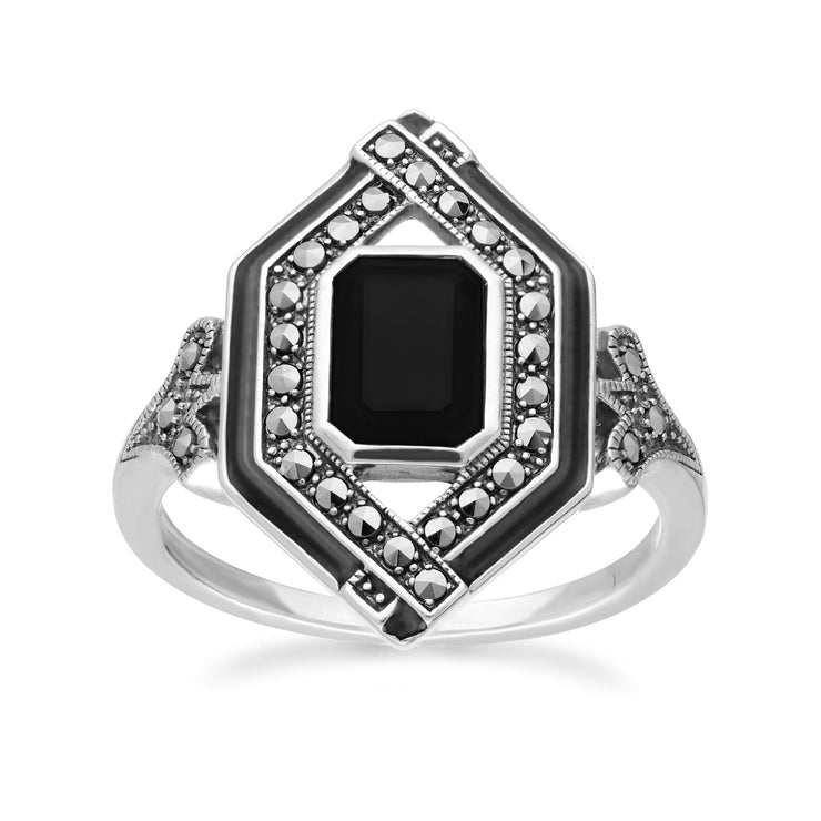 Art Deco Inspired Spinel, Enamel & Marcasite Rhombus Ring
