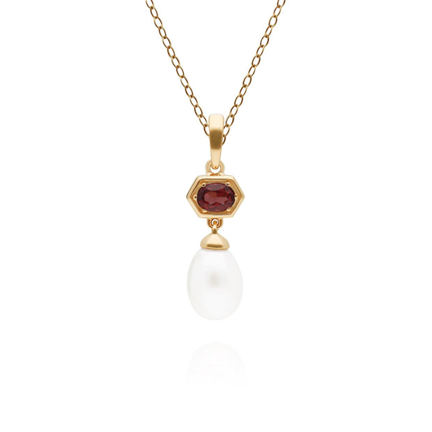 Modern Pearl & Garnet Hexagon Drop Pendant in Gold Plated Sterling Silver