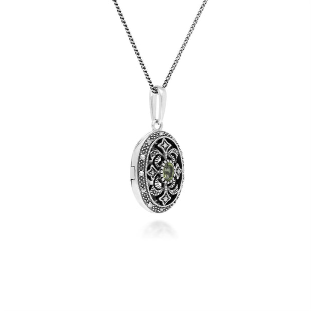 Art Nouveau Style Oval Peridot & Marcasite Locket Necklace in 925 Sterling Silver