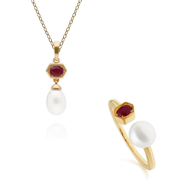 Modern Pearl & Ruby Ring & Pendant Set in Gold Plated Sterling Silver