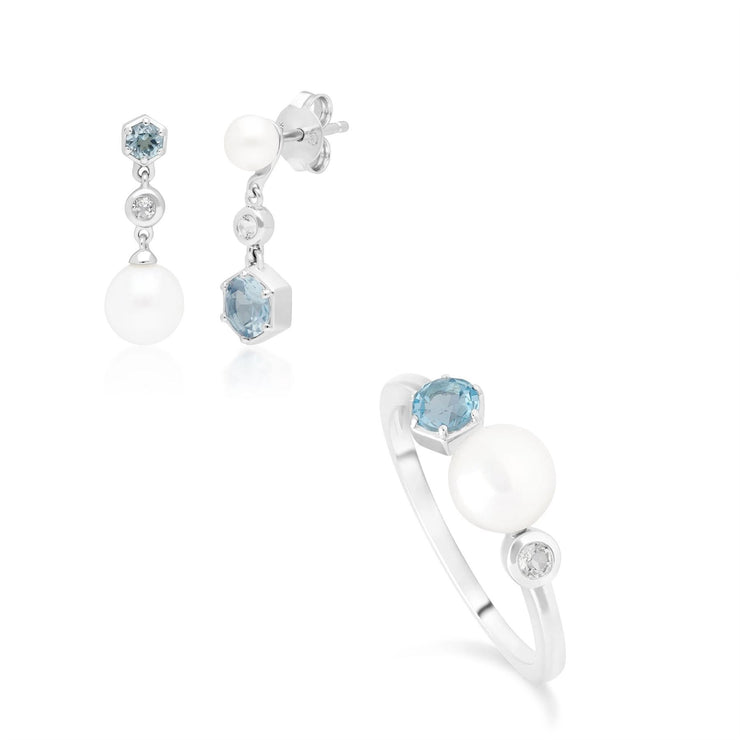 Modern Pearl & Topaz Ring & Drop Earring Set in Sterling Silver