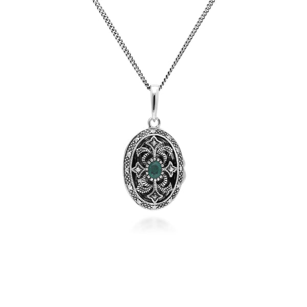 Art Nouveau Style Oval Emerald & Marcasite Locket Necklace in 925 Sterling Silver