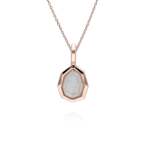 Irregular B Gem Rainbow Moonstone Pendant in Rose Gold Plated Sterling Silver
