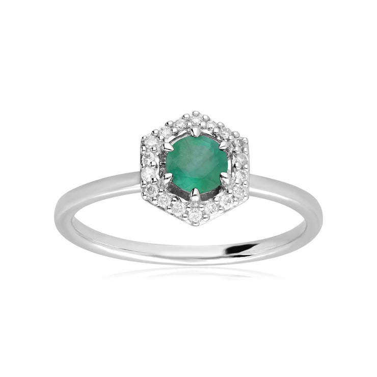 9ct White Gold 0.67ct Emerald & Diamond Halo Engagement Ring