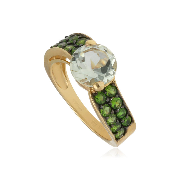 Kosmos Chrome Diopside & Moonstone Cocktail Ring in 9ct Yellow Gold