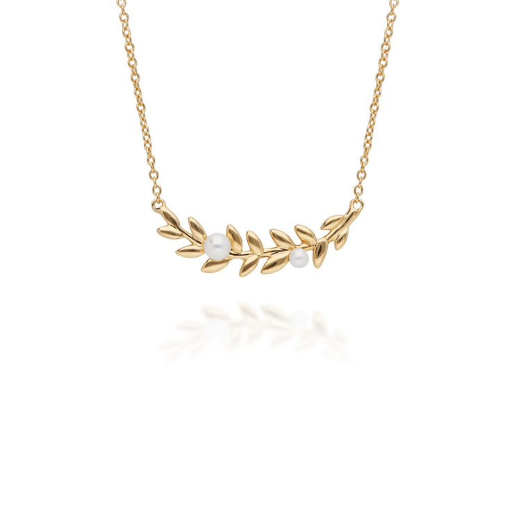 O Leaf Pearl Necklace in Gold Plated Sterling Silver
