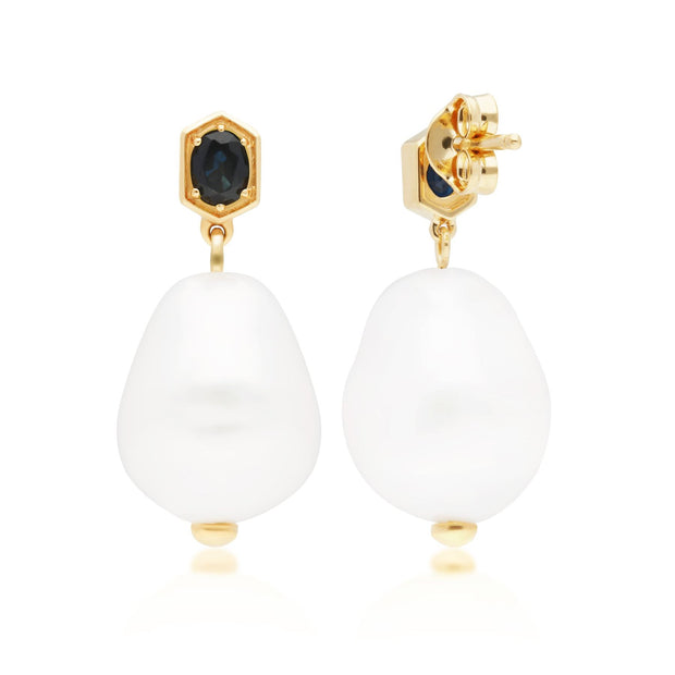 Modern Baroque Pearl & Sapphire Drop Earrings in Gold Plated Sterling Silver Back