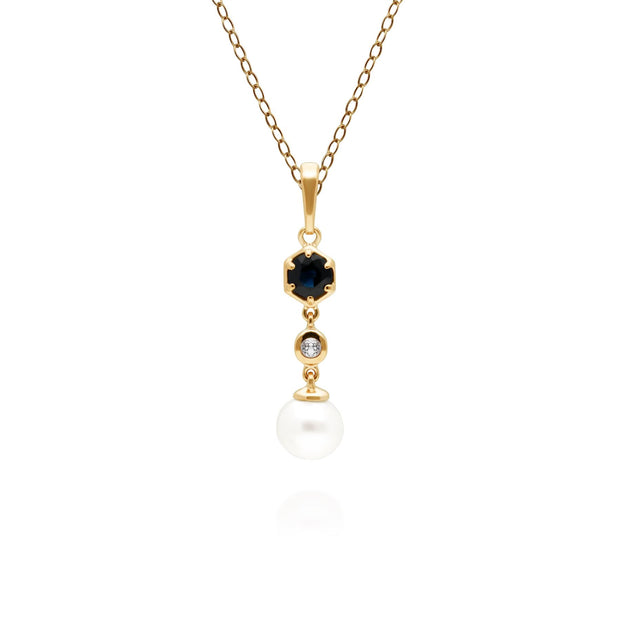 Modern Pearl, Sapphire & Topaz Drop Pendant in Gold Plated Sterling Silver