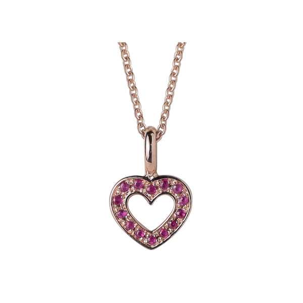 Gemondo Rose Gold Plated Sterling Silver Ruby Heart Pendant