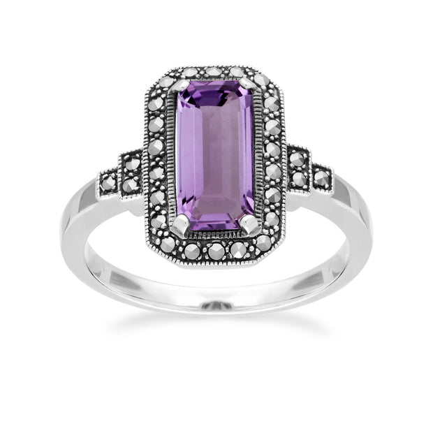 Art Deco Inspired Octagon Cut Amethyst & Marcasite Ring
