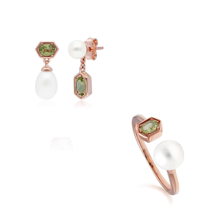 Modern Pearl & Peridot Earring & Ring Set in Rose Gold Plated Sterling Silver