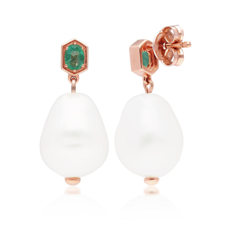 Modern Baroque Pearl & Emerald Drop Earrings in Rose Gold Plated Sterling Silver