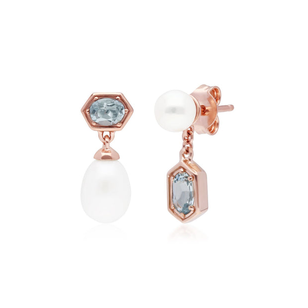 Modern Pearl & Aquamarine Mismatched Drop Earrings in Rose Gold Plated Sterling Silver
