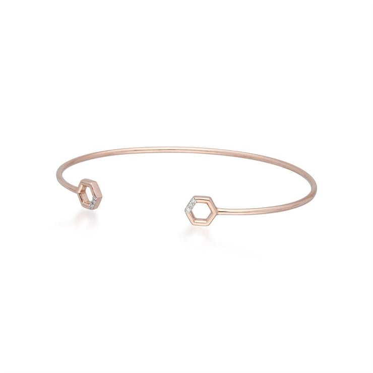 Diamond Pavé Hexagon Open Bangle in 9ct Rose Gold on Side