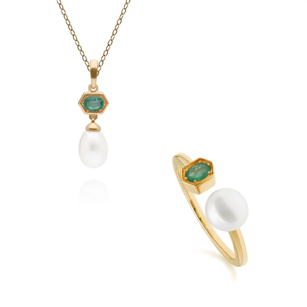 Modern Pearl & Emerald Pendant & Ring Set in Gold Plated Sterling Silver