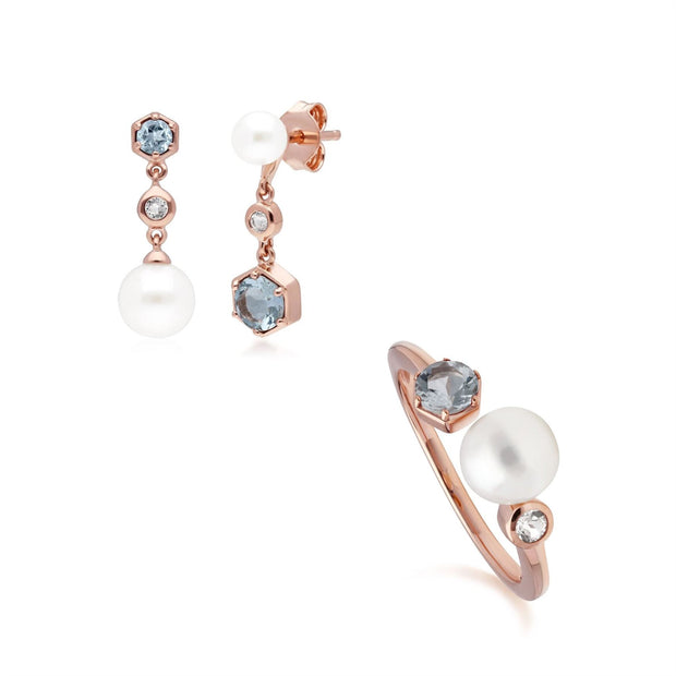 Modern Pearl, Aquamarine & Topaz Earring & Ring Set in Rose Gold Plated Sterling Silver
