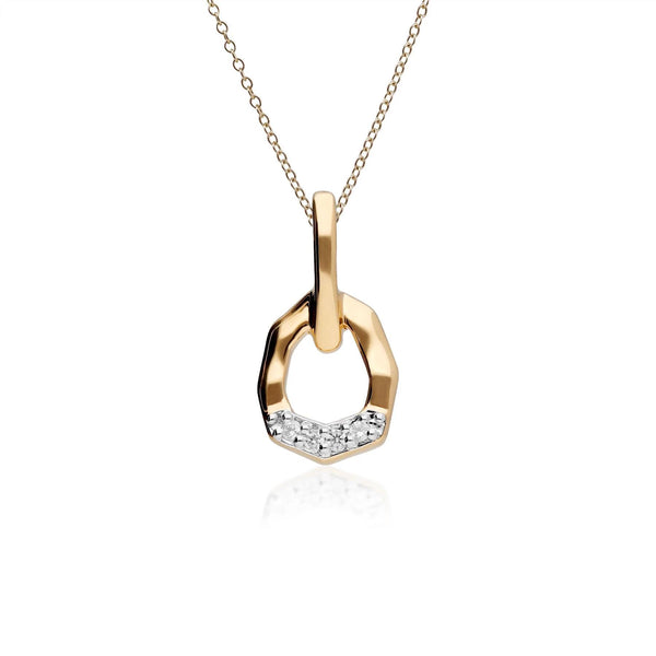Diamond Asymmetrical Pendant in 9ct Yellow Gold