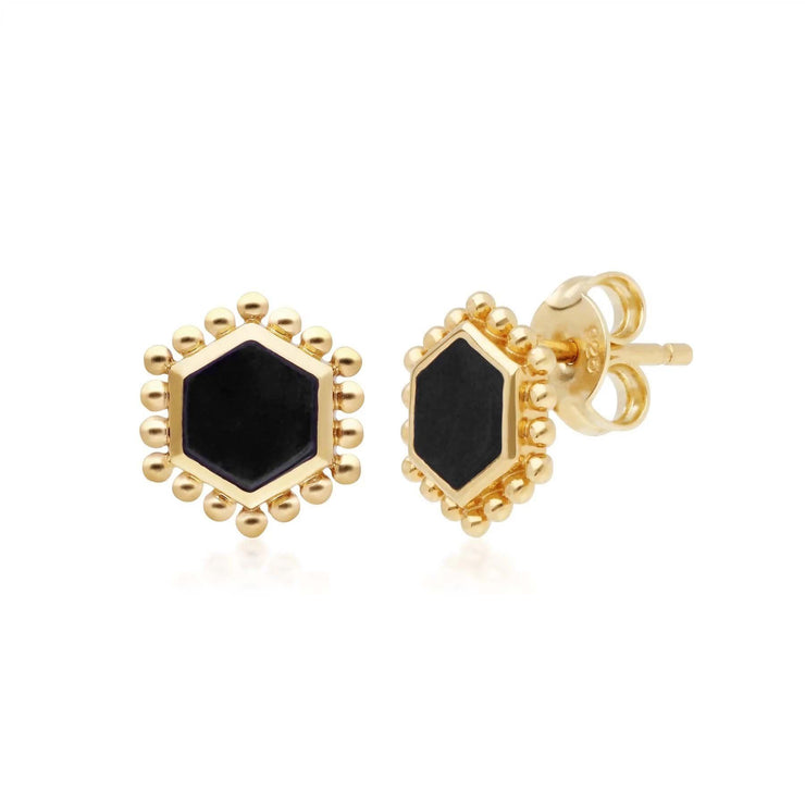 Black Onyx Flat Slice Hex Stud Earrings in Gold Plated Sterling Silver