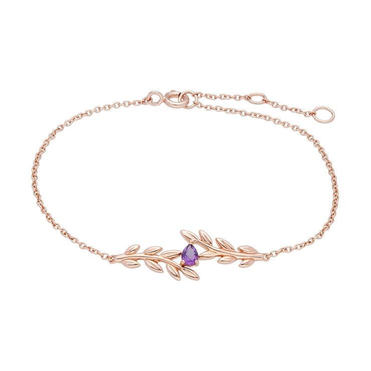 O Leaf Amethyst Bracelet in 9ct Rose Gold