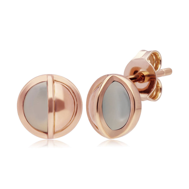 Micro Statement Round Mother of Pearl Stud Earrings in Rose Gold Plated 925 Sterling Silver