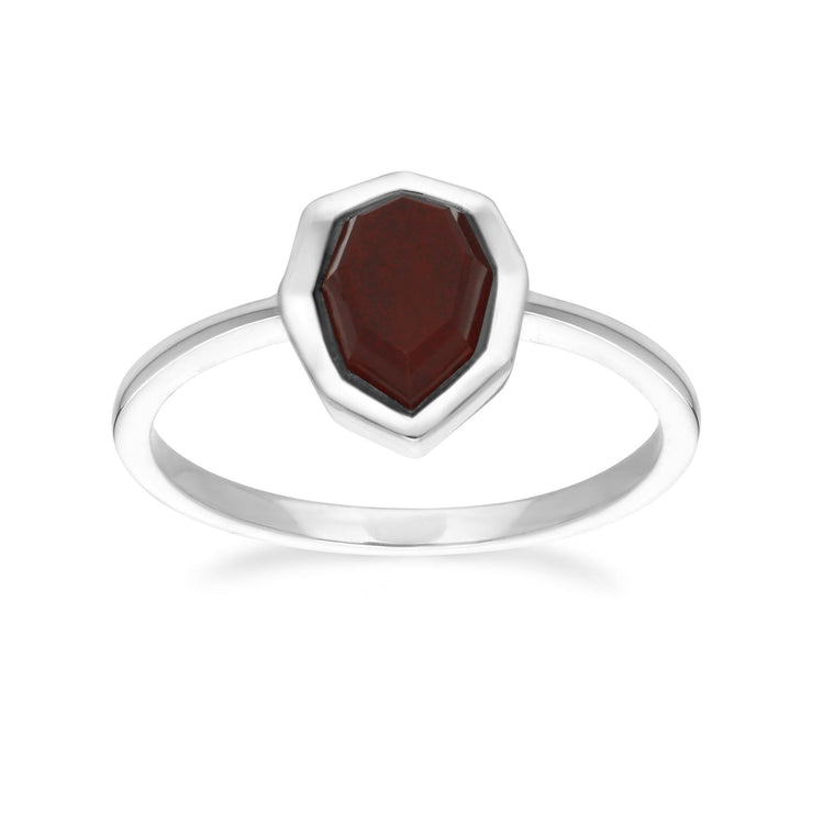 Irregular B Gem Red Jasper Ring in 925 Sterling Silver Front