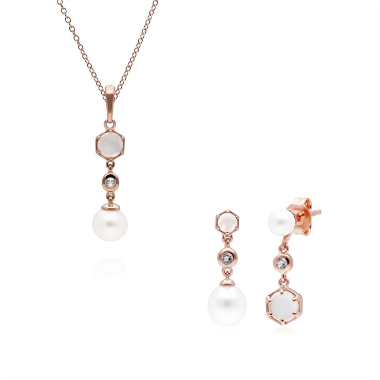 Modern Pearl, Moonstone & Topaz Pendant & Drop Earring Set in Rose Gold Plated Sterling Silver
