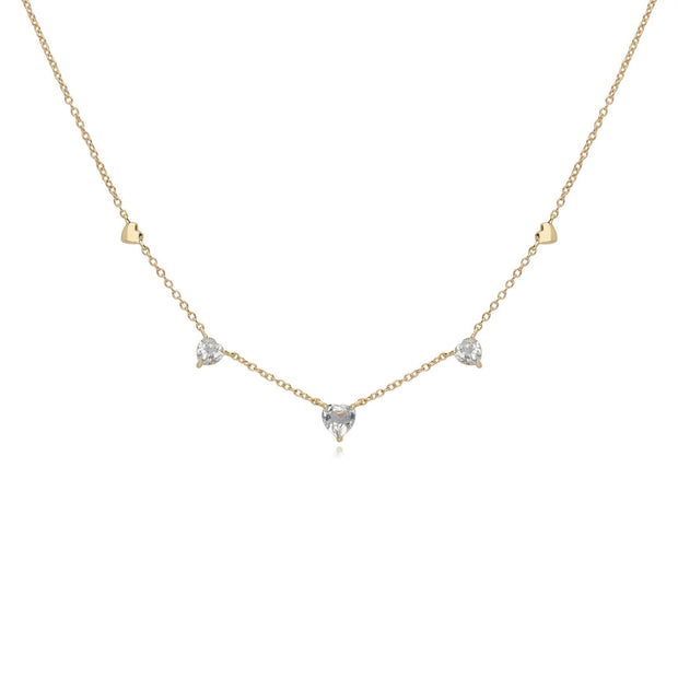 White Topaz Love Heart Necklace in 9ct Yellow Gold