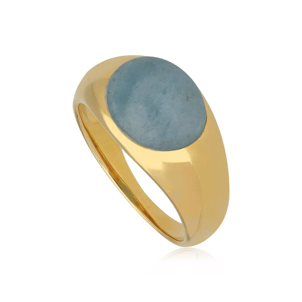Kosmos Aquamarine Cocktail Ring in Gold Plated 925 Sterling Silver
