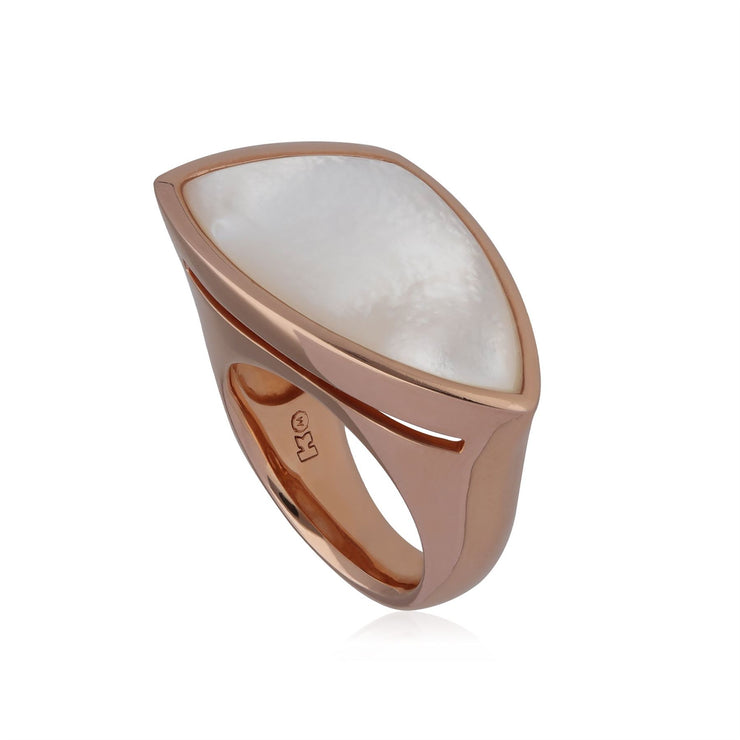 Kosmos Angular Mother of Pearl Cocktail Ring in Rose Gold Plated Sterling Silver