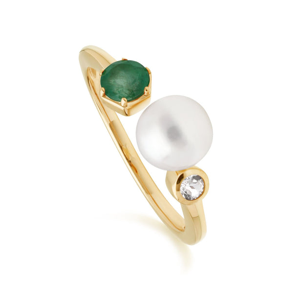 Modern Pearl, Emerald & Topaz Open Ring in Gold Plated Sterling Silver