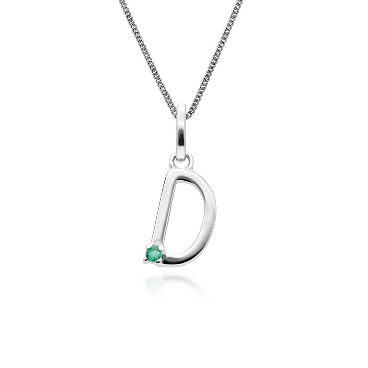 Initial D Emerald Letter Charm Necklace in 9ct White Gold