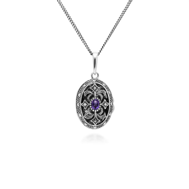 Art Nouveau Style Oval Amethyst & Marcasite Locket Necklace in 925 Sterling Silver