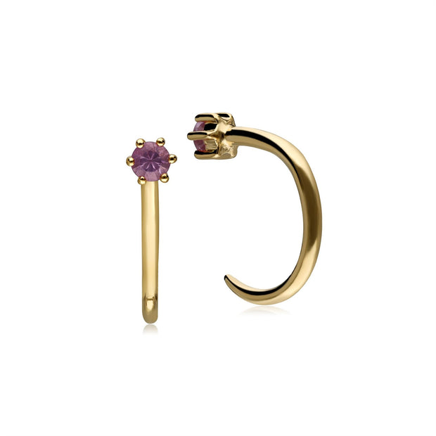 Pink Sapphire Pull Through Hoop Earrings In 9ct Gold