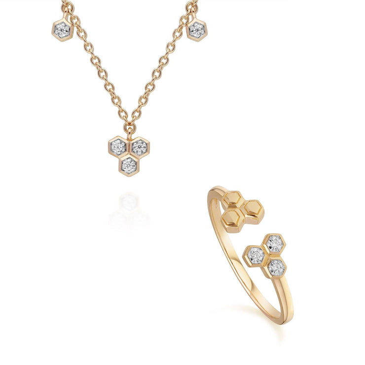 Diamond Trilogy Necklace & Ring Set in 9ct Yellow Gold