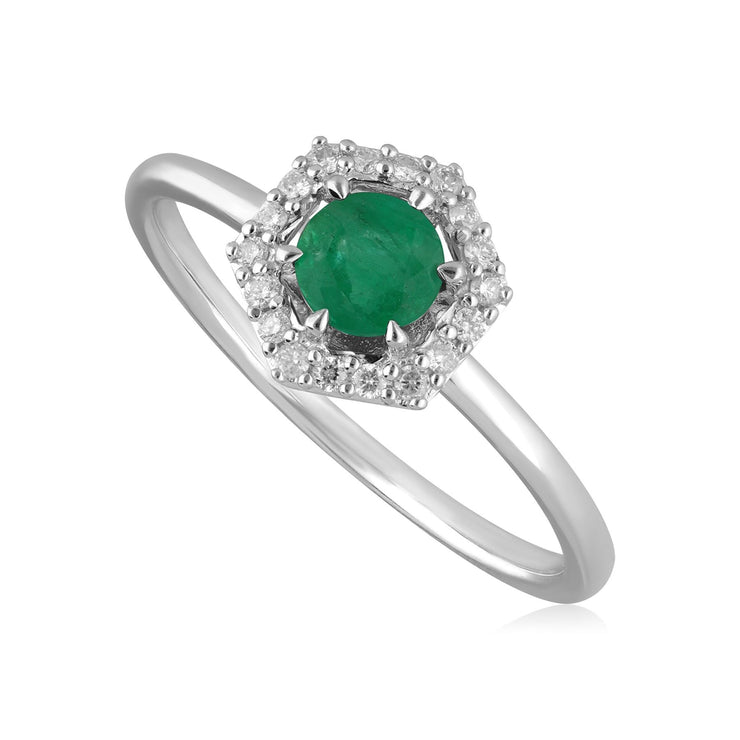 9ct White Gold 0.38ct Emerald & Diamond Halo Engagement Ring