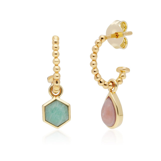Micro Statement Rhodochrosite & Amazonite Mismatched Hoop Earrings