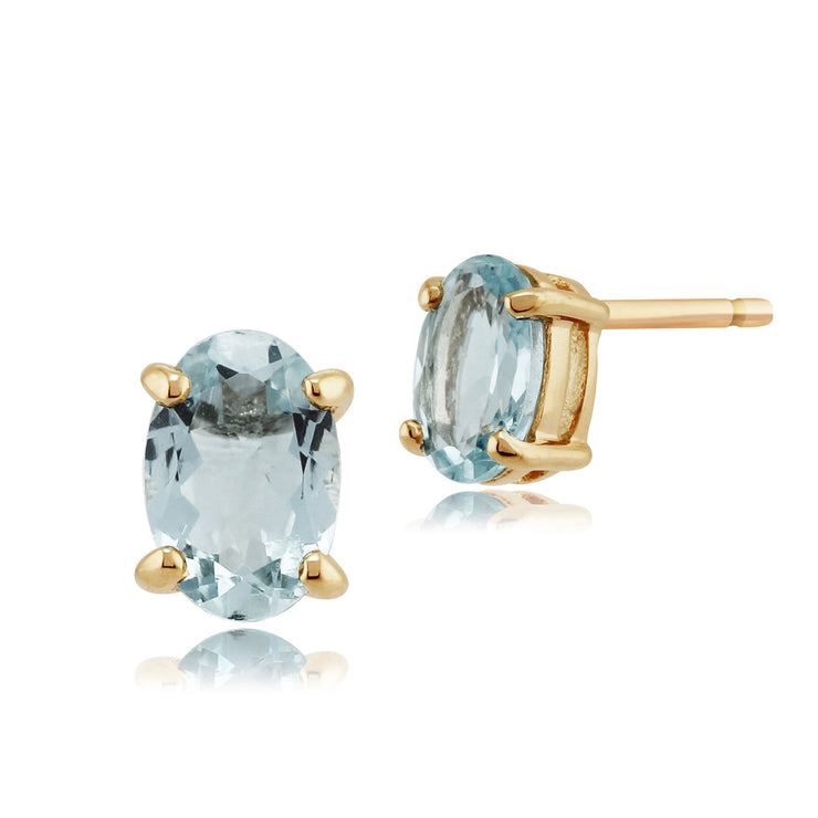 Classic Oval Aquamarine Stud Earrings in 9ct Yellow Gold