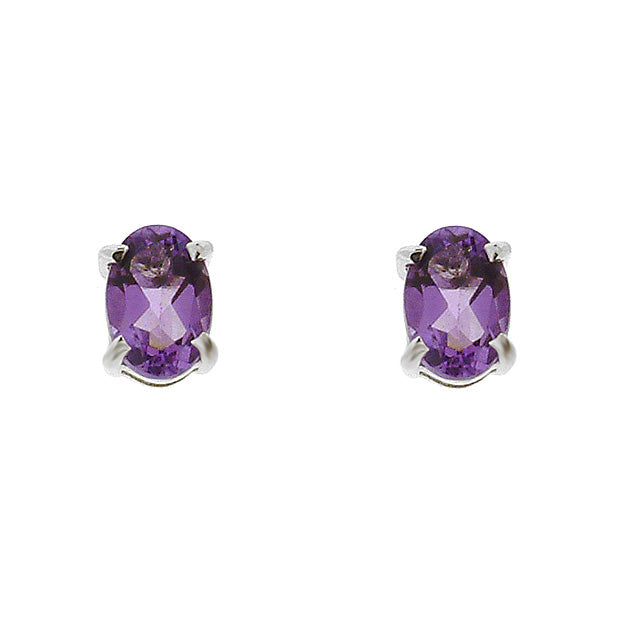 Classic Oval Amethyst Stud Earrings in 9ct White Gold 6x4mm
