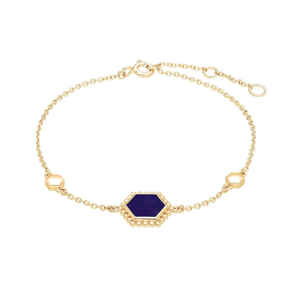 Lapis Lazuli Flat Slice Hex Bracelet in Gold Plated Sterling Silver