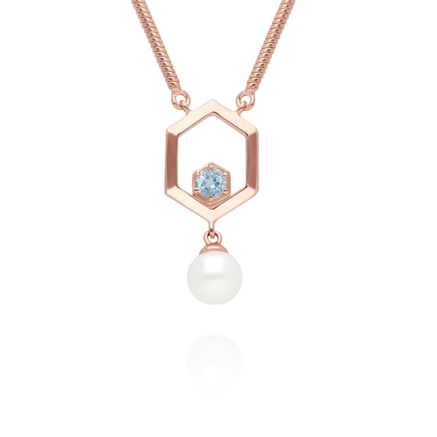 Modern Pearl & Topaz Hexagon Drop Necklace in Rose Gold Plated Sterling Silver