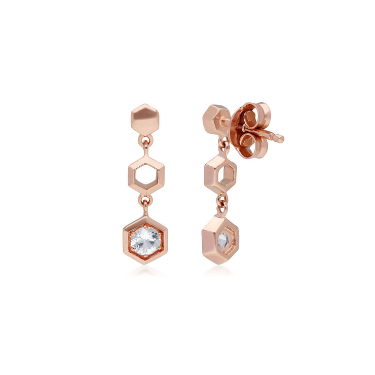 Honeycomb Inspired Clear Sapphire Drop Earrings in 9ct Rose Gold