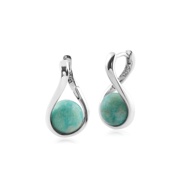Kosmos Round Ball Shaped Amazonite Earrings in Rhodium Plated Sterling Silver