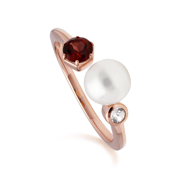 Modern Pearl, Garnet & Topaz Open Ring in Rose Gold Plated Sterling Silver