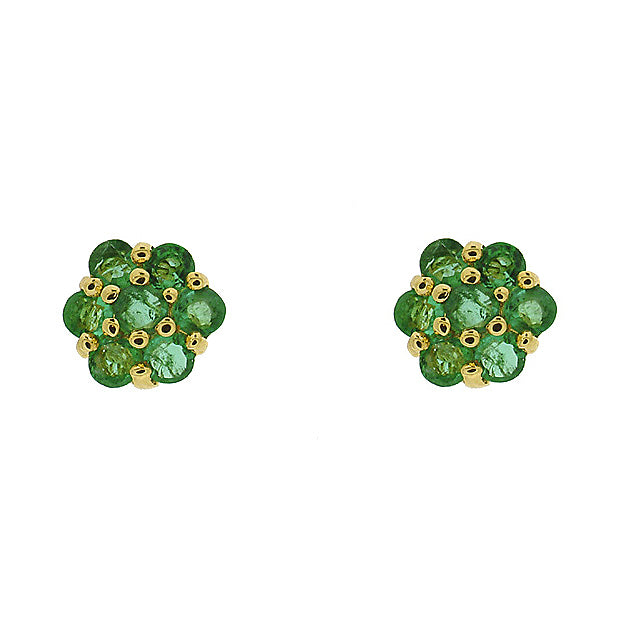 Image of  			   			  			   			  9ct Yellow Gold 0.46ct Emerald Flower Design Cluster Stud Earrings