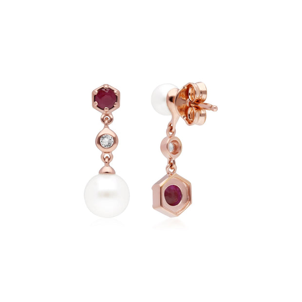 Modern Pearl, Ruby & Topaz Mismatched Drop Earrings in Rose Gold Plated Sterling Silver