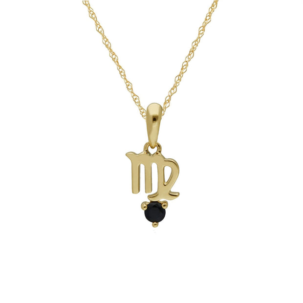 Sapphire Virgo Zodiac Charm Necklace in 9ct Yellow Gold