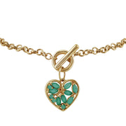 Classic Marquise Emerald Charm Bracelet in 9ct Yellow Gold