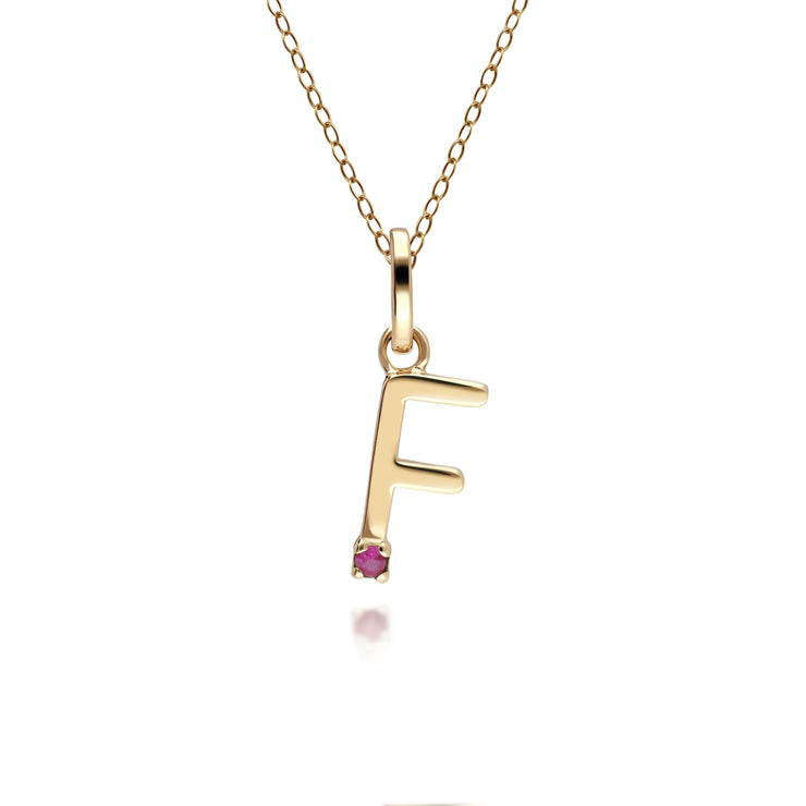 Initial F Ruby Letter Charm Necklace in 9ct Yellow Gold