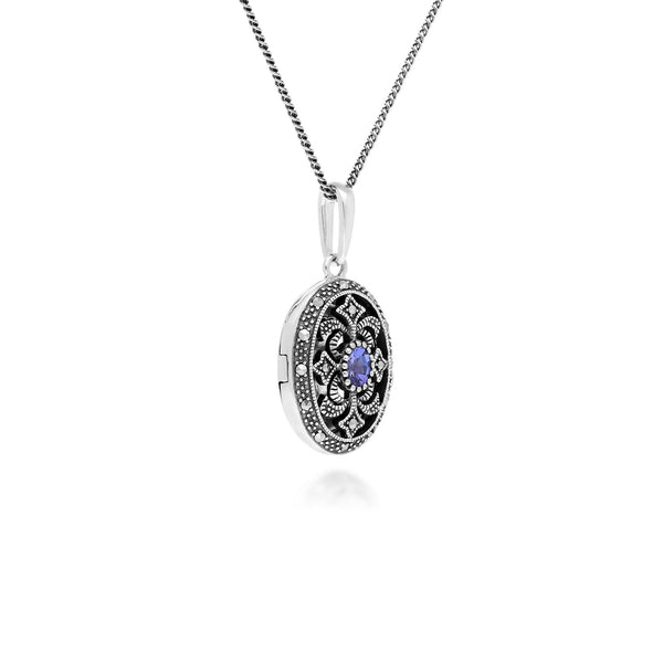 Art Nouveau Style Oval Tanzanite & Marcasite Locket Necklace in 925 Sterling Silver
