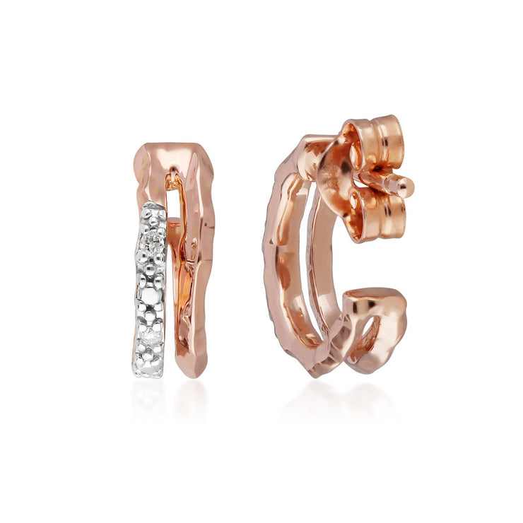 Diamond Pavé Double Hammered Mini Hoop Earrings in 9ct Rose Gold